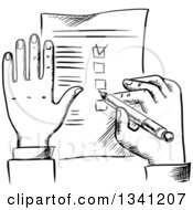 Clipart Of A Black And White Sketched Businessmans Hands And Check List Royalty Free Vector Illustration