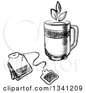 Poster, Art Print Of Black And White Sketched Mug And Tea Bag