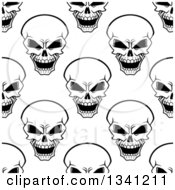 Poster, Art Print Of Seamless Background Pattern Of Black And White Evil Human Skulls 2