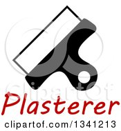 Clipart Of A Black And White Plasterer Spatula Over Red Text Royalty Free Vector Illustration