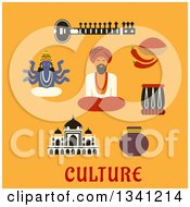 Clipart Of A Flat Desig Sitar Fresh Chili Pepper And Powder Tabla Drum Vase Ancient Temple God Vishnu Bearded Man In Red Turban And Culture Text Over Yellow Royalty Free Vector Illustration