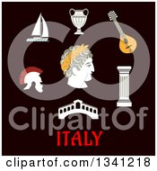 Clipart Of A Flat Design Italian Caesar Roman Helmet Venice Bridge Ancient Vase Mandolin Doric Column And Sailboat Over Text On Black Royalty Free Vector Illustration