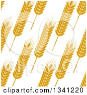 Clipart Of A Seamless Background Patterns Of Gold Wheat On White 7 Royalty Free Vector Illustration