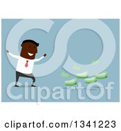 Clipart Of A Flat Modern Black Businessman Cheering By Cash Money Over Blue Royalty Free Vector Illustration