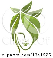 Clipart Of A Womans Face With Green Leaf Hair Royalty Free Vector Illustration