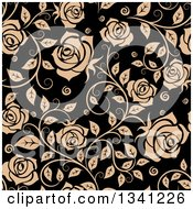 Seamless Pattern Of Tan Roses On Black 5