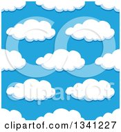 Clipart Of A Seamless Pattern Background Of Puffy Clouds In A Blue Sky 9 Royalty Free Vector Illustration by Vector Tradition SM