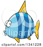 Clipart Of A Cartoon Chubby Blue Striped Marine Fish Royalty Free Vector Illustration