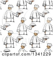 Clipart Of A Seamless Background Pattern Of An Asian Chef Holding A Cloche Royalty Free Vector Illustration