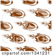 Background Pattern Of Seamless Brown Flying Footballs On White 2