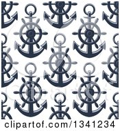 Clipart Of A Seamless Background Pattern Of Navy Blue Anchors 5 Royalty Free Vector Illustration by Vector Tradition SM
