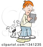 Clipart Of A Cartoon White Dog Peeing On An Oblivious Red Haired White Boys Leg As He Plays With A Tablet Computer Royalty Free Vector Illustration