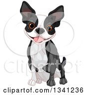 Clipart Of A Cute Boston Terrier Or French Bulldog Sitting And Panting Royalty Free Vector Illustration by Pushkin