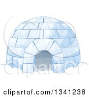 Clipart Of A Cartoon Igloo Shelter Royalty Free Vector Illustration