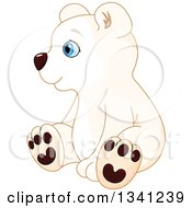 Cute Baby Polar Bear Cub Sitting And Facing Left