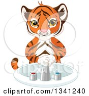 Clipart Of A Cute Tiger Cub Washing His Hands Royalty Free Vector Illustration