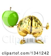 Clipart Of A 3d Gold Brain Character Holding A Green Apple Royalty Free Illustration by Julos