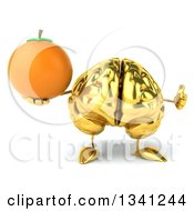 Clipart Of A 3d Gold Brain Character Holding A Navel Orange And Giving A Thumb Up Royalty Free Illustration by Julos