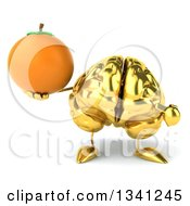 Clipart Of A 3d Gold Brain Character Holding And Pointing To A Navel Orange Royalty Free Illustration by Julos