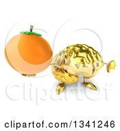Clipart Of A 3d Gold Brain Character Holding Up A Navel Orange And Thumb Down Royalty Free Illustration by Julos