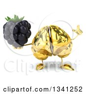 Clipart Of A 3d Gold Brain Character Holding Up A Finger And A Blackberry Royalty Free Illustration by Julos