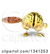 Clipart Of A 3d Gold Brain Character Holding And Pointing To A Pizza Royalty Free Illustration by Julos