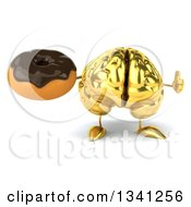Clipart Of A 3d Gold Brain Character Holding A Chocolate Glazed Donut And Giving A Thumb Up Royalty Free Illustration by Julos