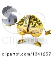 Clipart Of A 3d Gold Brain Character Holding A Dollar Currency Symbol And Shrugging Royalty Free Illustration by Julos