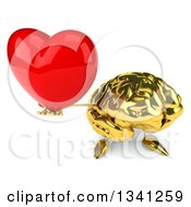 Clipart Of A 3d Gold Brain Character Holding Up A Red Love Heart Royalty Free Illustration by Julos