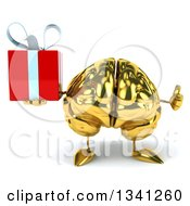 Clipart Of A 3d Gold Brain Character Holding A Gift And Giving A Thumb Up Royalty Free Illustration by Julos