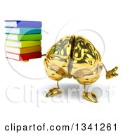Clipart Of A 3d Gold Brain Character Holding A Stack Of Books And Shrugging Royalty Free Illustration by Julos