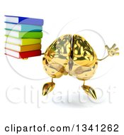 Clipart Of A 3d Gold Brain Character Holding A Stack Of Books And Jumping Royalty Free Illustration by Julos