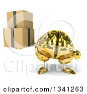 Clipart Of A 3d Gold Brain Character Holding And Pointing To Boxes Royalty Free Illustration by Julos