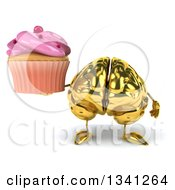 Clipart Of A 3d Gold Brain Character Holding A Pink Frosted Cupcake Royalty Free Illustration by Julos