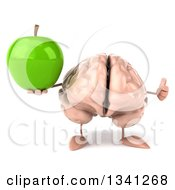Clipart Of A 3d Brain Character Holding A Green Apple And Giving A Thumb Up Royalty Free Illustration