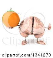 Clipart Of A 3d Brain Character Holding A Navel Orange And Giving A Thumb Up Royalty Free Illustration