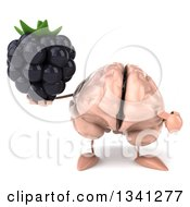 Clipart Of A 3d Brain Character Holding And Pointing To A Blackberry Royalty Free Illustration