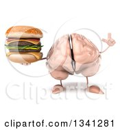Clipart Of A 3d Brain Character Holding Up A Finger And Double Cheeseburger Royalty Free Illustration
