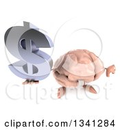 Clipart Of A 3d Brain Character Holding Up A Dollar Currency Symbol And Thumb Down Royalty Free Illustration