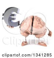 Clipart Of A 3d Brain Character Holding A Euro Currency Symbol Royalty Free Illustration