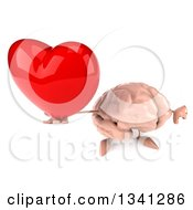 Clipart Of A 3d Brain Character Holding Up A Red Love Heart And Thumb Down Royalty Free Illustration