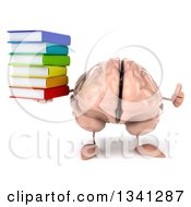 Clipart Of A 3d Brain Character Holding A Stack Of Books And Giving A Thumb Up Royalty Free Illustration