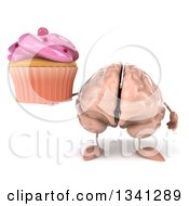 Clipart Of A 3d Brain Character Holding A Pink Frosted Cupcake Royalty Free Illustration