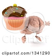 Clipart Of A 3d Brain Character Holding A Chocolate Frosted Cupcake Facing Slightly Right And Jumping Royalty Free Illustration