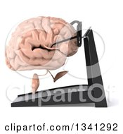 Clipart Of A 3d Bespectacled Brain Character Running On A Treadmill Facing Right Royalty Free Illustration