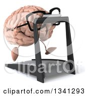 Clipart Of A 3d Bespectacled Brain Character Running On A Treadmill Facing Slightly Right Royalty Free Illustration
