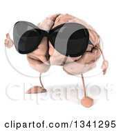 Clipart Of A 3d Brain Character Wearing Sunglasses And Holding Up A Thumb Royalty Free Illustration