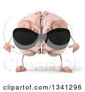 Clipart Of A 3d Brain Character Wearing Sunglasses And Looking Down Royalty Free Illustration
