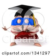 Clipart Of A 3d Super Hero Graduate Brain Character Presenting Royalty Free Illustration by Julos