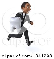 Clipart Of A 3d Young Black Businessman Holding A Tooth And Sprinting To The Right Royalty Free Illustration
